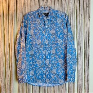 Nat Nast Blue Long Sleeve Button Down Small